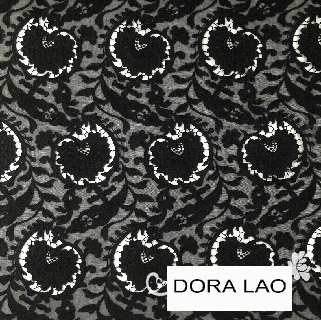 120cm black font b apple b font shape embroidery water soluble lace fabric for dress