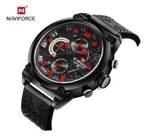 Image 5 - Naviforce Luxe Merk Man 3ATM Waterdicht Klok Mannen Analoge Quartz 24 Uur Datum Horloges Mannen Sport Lederen Horloge Original