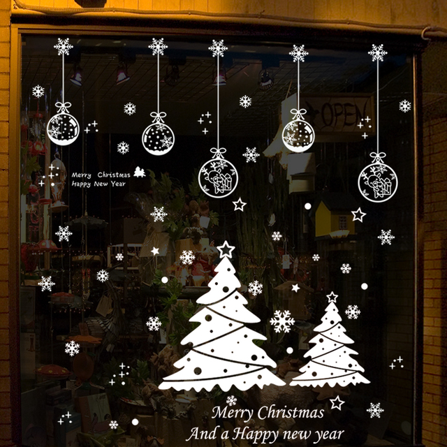 christmas wall sticker white deer bells snowman festivals christmas decorations for home shopwindow christmas window sticker