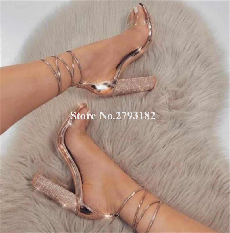 Kadınlar Lüks Moda Açık Toe Rhinestone dantel-up Tıknaz Topuk Gladyatör Sandalet PVC Kayış Kristal Kalın yüksek topuklu sandalet