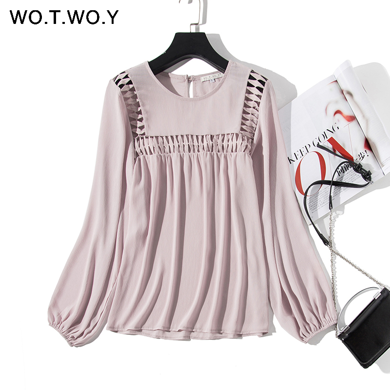 WOTWOY White Hollow Out  Blouses Womens 2020 New Spring  Long Sleeve Shirts Casual Streatwear Womens Tops And Blouses Harajuku