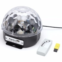 Colorful RGB LED MP3 Crystal Magic Ball Stage Effect Light DJ Club Disco Party Lighting Music With USB Disk SD Remote Control