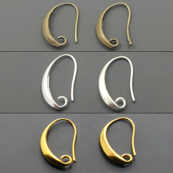 50pcs/lot Antique Bronze/Silver/Gold Plated Ear Wires Hook Earring For DIY Jewelry 13*19mm