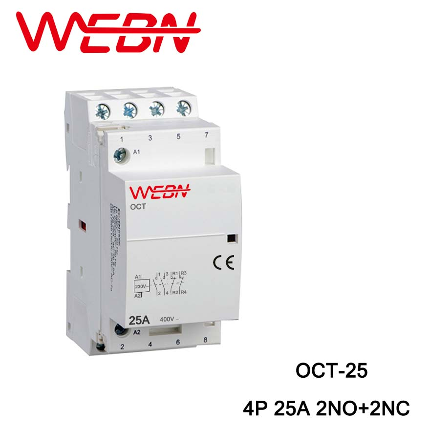 OCT-25 Series AC Household <font><b>Contactor</b></font> <font><b>220V</b></font> 50/60Hz 4P <font><b>25A</b></font> 2NO+2NC Two Normal Open and Two Normal close Contact Din Rail <font><b>Contactor</b></font> image