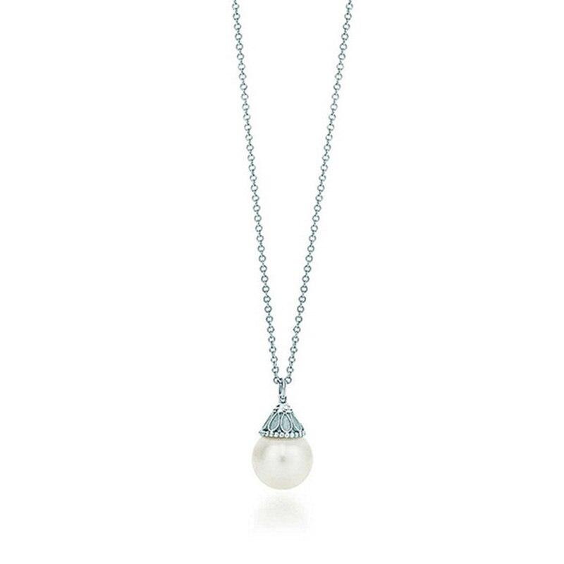 78d014b9eba 100% 925 Sterling Silver TIFF Pearl Pendant Necklace Original Women's  Pendant Clavicle Chain Retro Simple