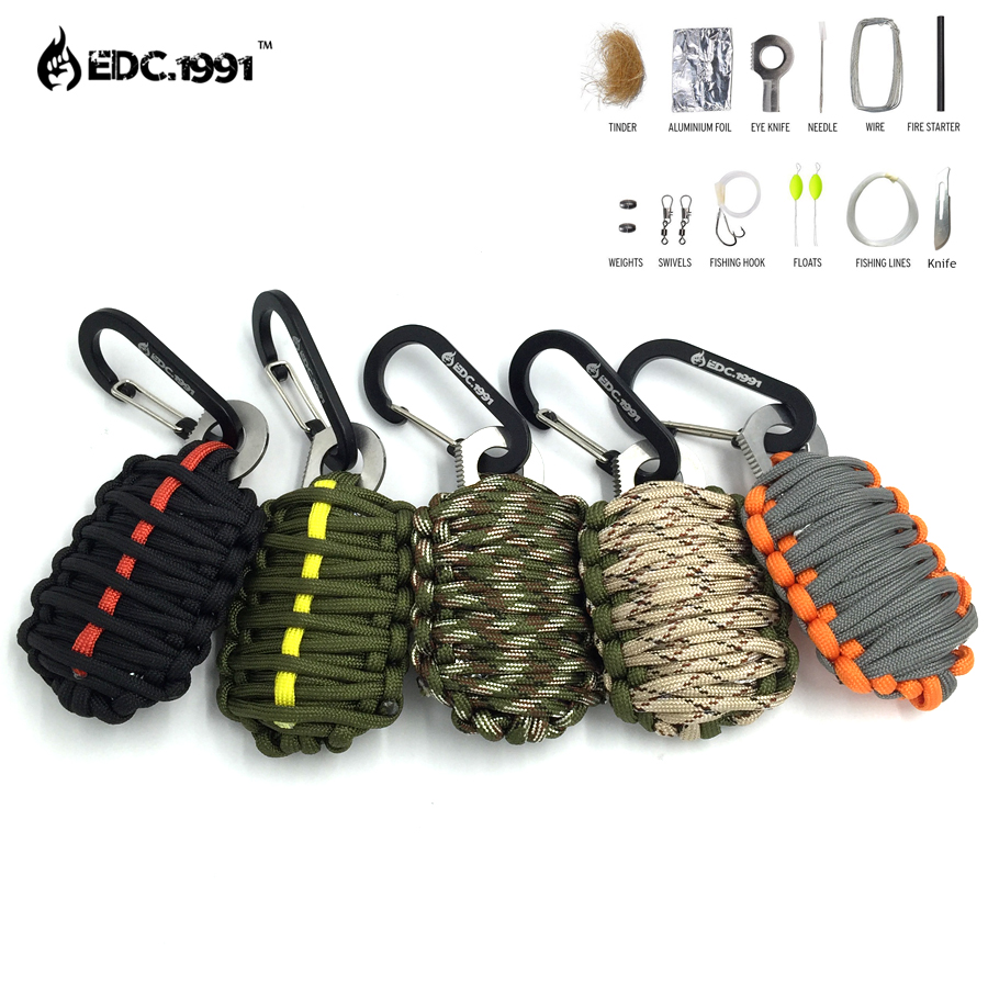 NEW EDC GEAR Carabiner Grenade 550 Paracord Outdoor font b camping b font Survival Kit Fishing