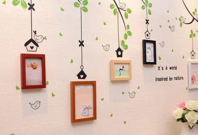Online Shop 5 Pcs Family Tree Photo Frame Set With Birds Tree