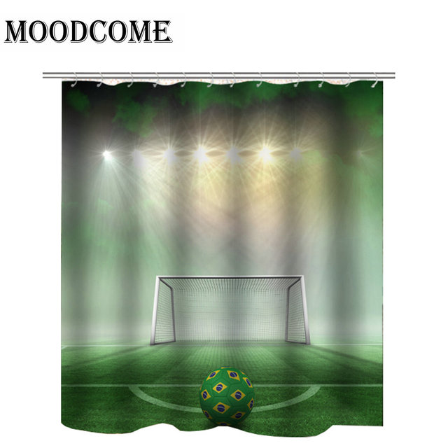 Football Shower Curtain Green 2018 New Drop Shipping Waterproof Bath Curtains For Bathroom
