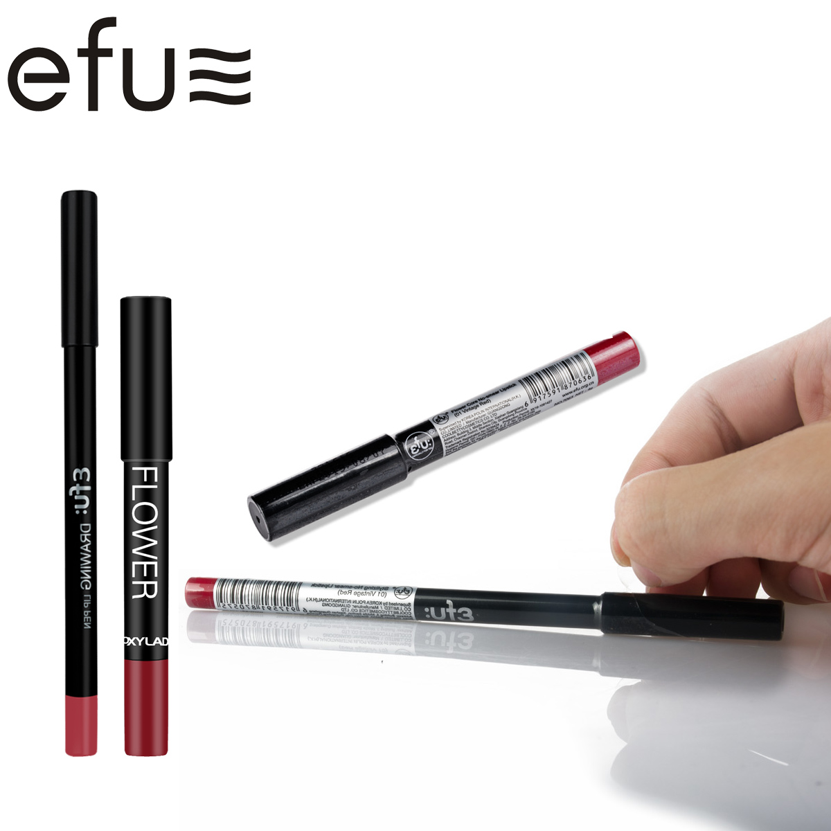 1Set Long Lasting Matte Lipstick Suits 15 Styles Waterproof Lip liner Pencil 1 8g 4g High Quality Makeup Brand EFU EFUL01 in Lipstick from Beauty Health