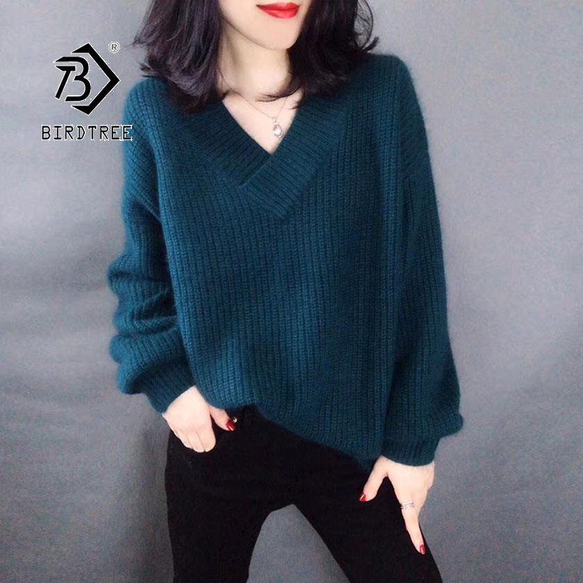 2019 Autumn New Women's Pullovers Sweater V-neck Lantern Sleeve Knitting Solid Loose Casual Elegant Plus Size Tops T97707D