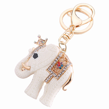Fashion Trinket Rhinestone Animal Crown White Elephant Key Chain Ring Holder Charm Handbag Accessories Women Jewelry Gift R070