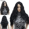 Women's fashion Natural long curly wig Black Body Wave Hair Wigs Kanekalon Top quality Hair wigs