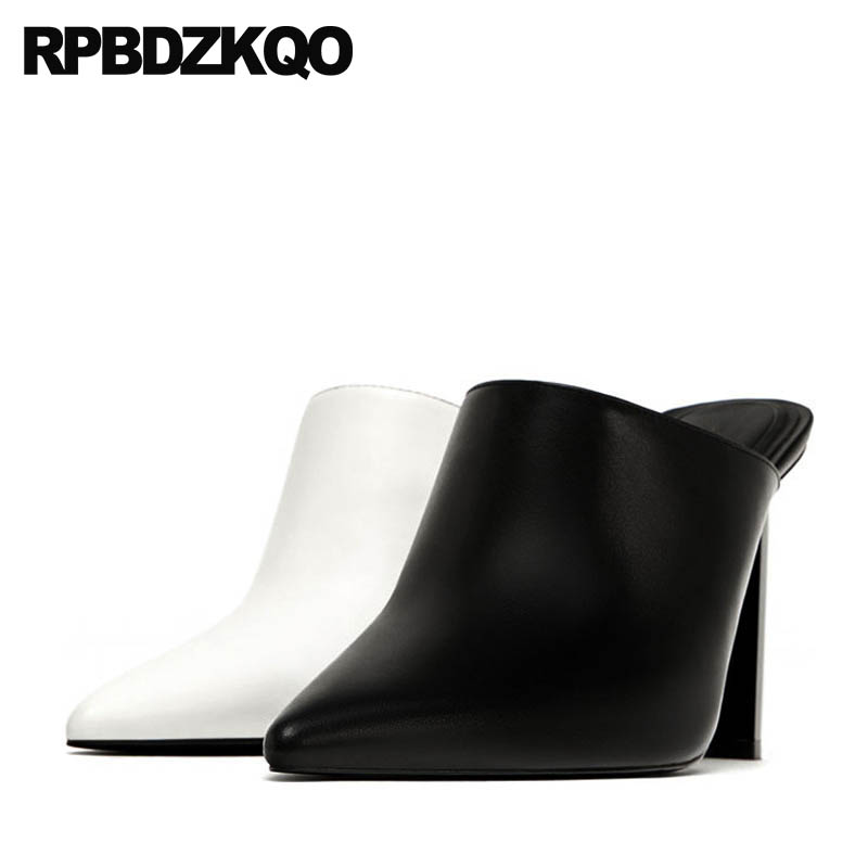 Size 4 34 Shoes European Big Celebrity Block White 2018 Mules Slipper Pumps Brand 33 Sexy High Heels Women Pointed Toe Runway