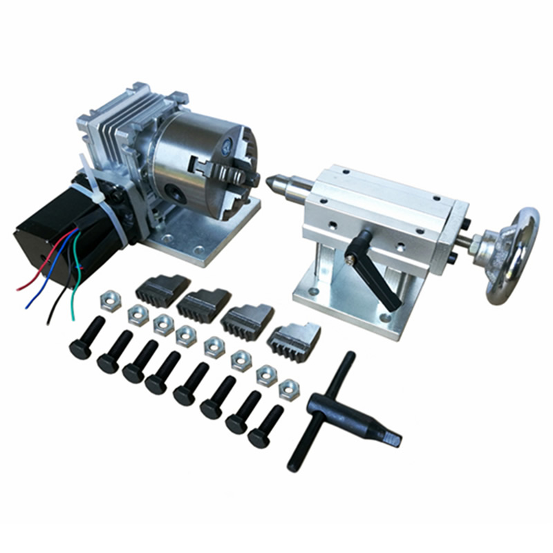 Rotary Axis A Axis the 4th Axis with 80mm 4-Jaw Chuck for wood/metal CNC Router milling machine цены
