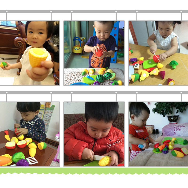 23pcs Set Plastic Fruit Vegetables Cutting Toys For Children Kitchen