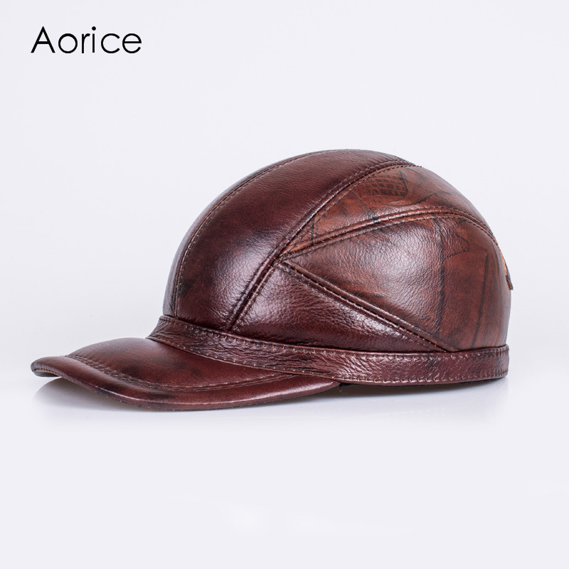 Aorice Winter Genuine Sheepskin Leather Hat Brand New Men's Warm Earmuffs Hat Man Baseball Caps Leisure Fashion Brand Hats HL030 aorice genuine leather baseball cap men hats and caps solid color brown black leather leisure fashion travel biker hl187