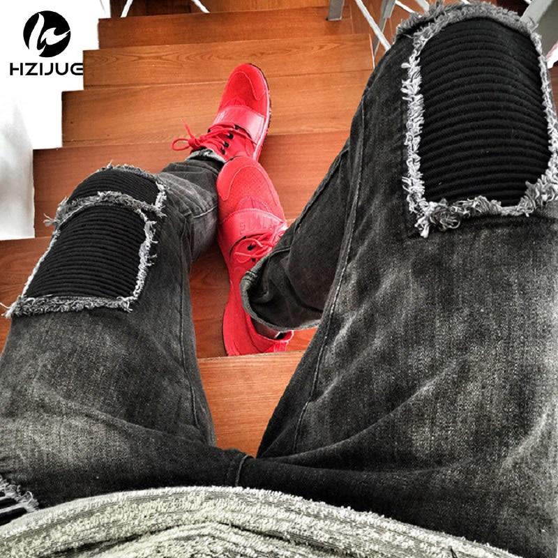 2017 hip-hop Men Jeans masculina Casual Denim distressed Men's Slim Jeans pants Brand Biker jeans skinny rock ripped jeans homme skinny jeans men 2017 brand washed ripped jeans men casual slim fit mens biker jeans hip hop hipster zipper jeans pants homme