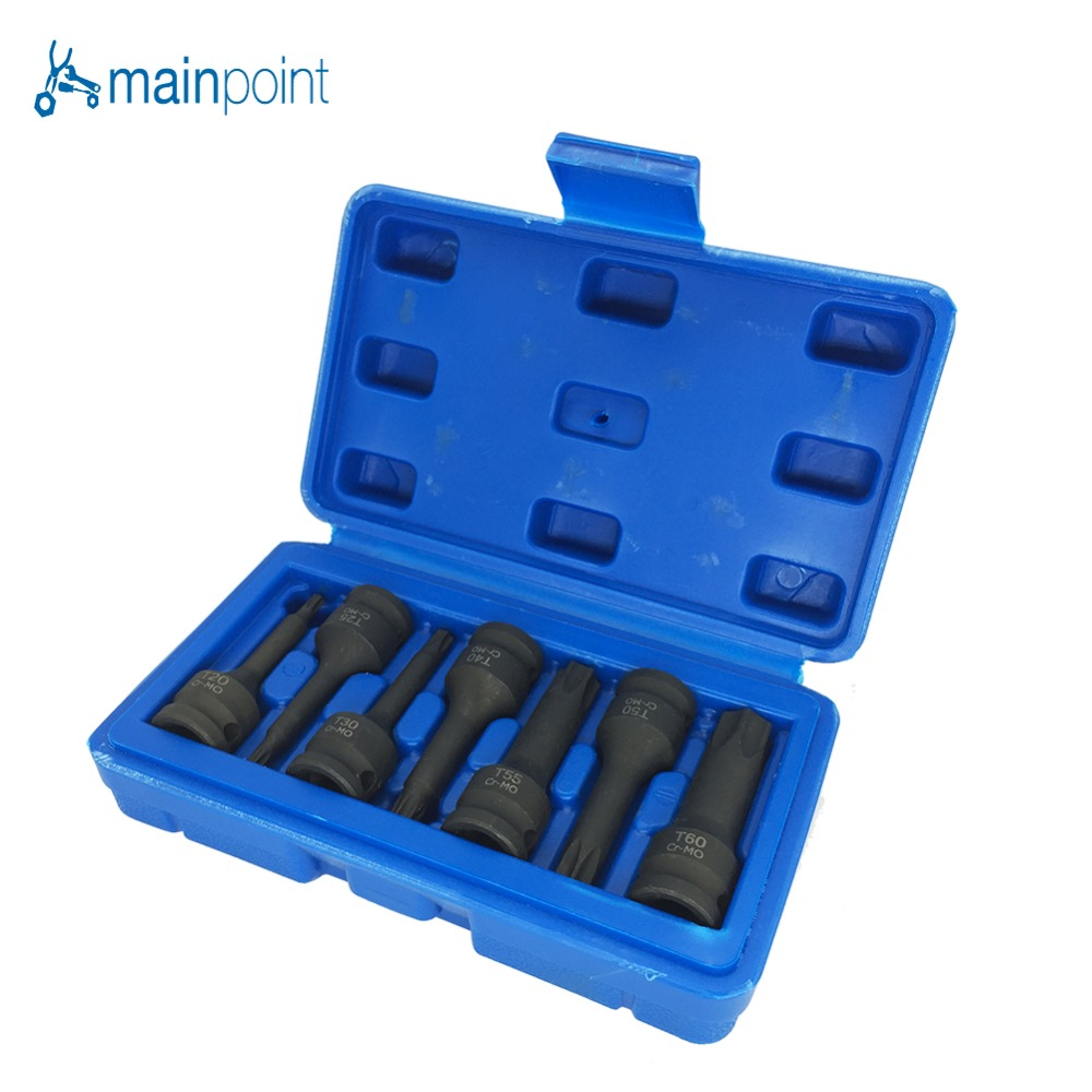 Mainpoint 3/8 Drive Star Torx Impact Socket Bits 7Pieces T20-T60 Metric Hex Allen Spline CR-MO Ratchet Bit Socket Set mainpoint 8pc hex bit socket allen key ratchet drive adapter set 3 8socket wrench car hand tools repair kit cr v steel bits