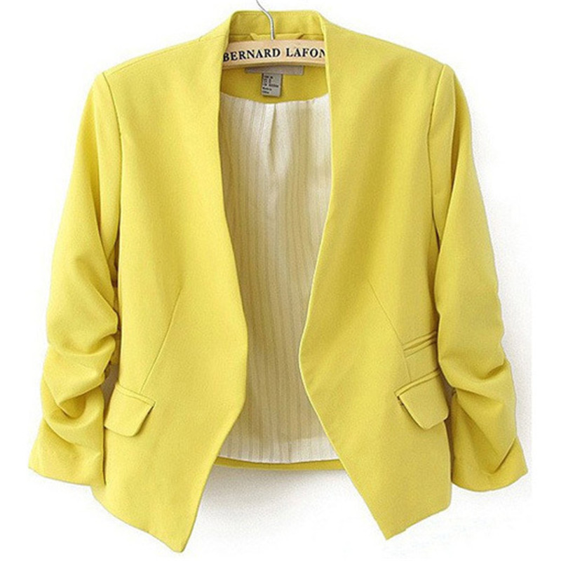 Womens Candy Color Blazer Suit Long Sleeve Without The Button Small Suit Jacket Female Participants In Ladies Blazer Coat Jacket