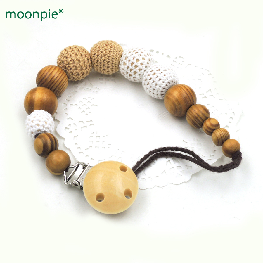 מכירה עץ אורן גוון חקי הסרוגה חרוזים מצליף קליפ מחזיק התינוק צבע צבע בטוח לשיער מותק התינוק להתקלח מתנה NT161