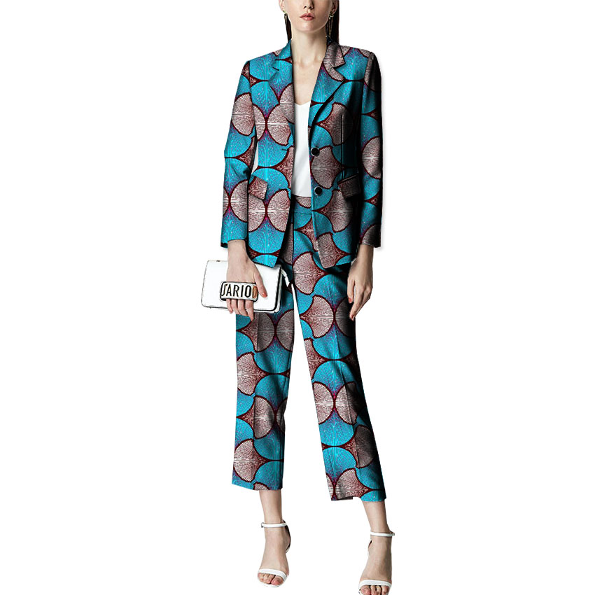 2018 New Fashion African Style Women African Pant Suits Festive Suits Ladies Print Dashiki Blazers And Pants Costume Customized