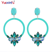 ФОТО yuexinfu crystal oorbellen pendients resin round earings for woman high quality luxury statements earrings brand fashion jewelry