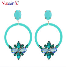 Yuexinfu Crystal Oorbellen Pendients Resin Round Earings For Woman High Quality Luxury Statements Earrings Brand Fashion Jewelry(China)