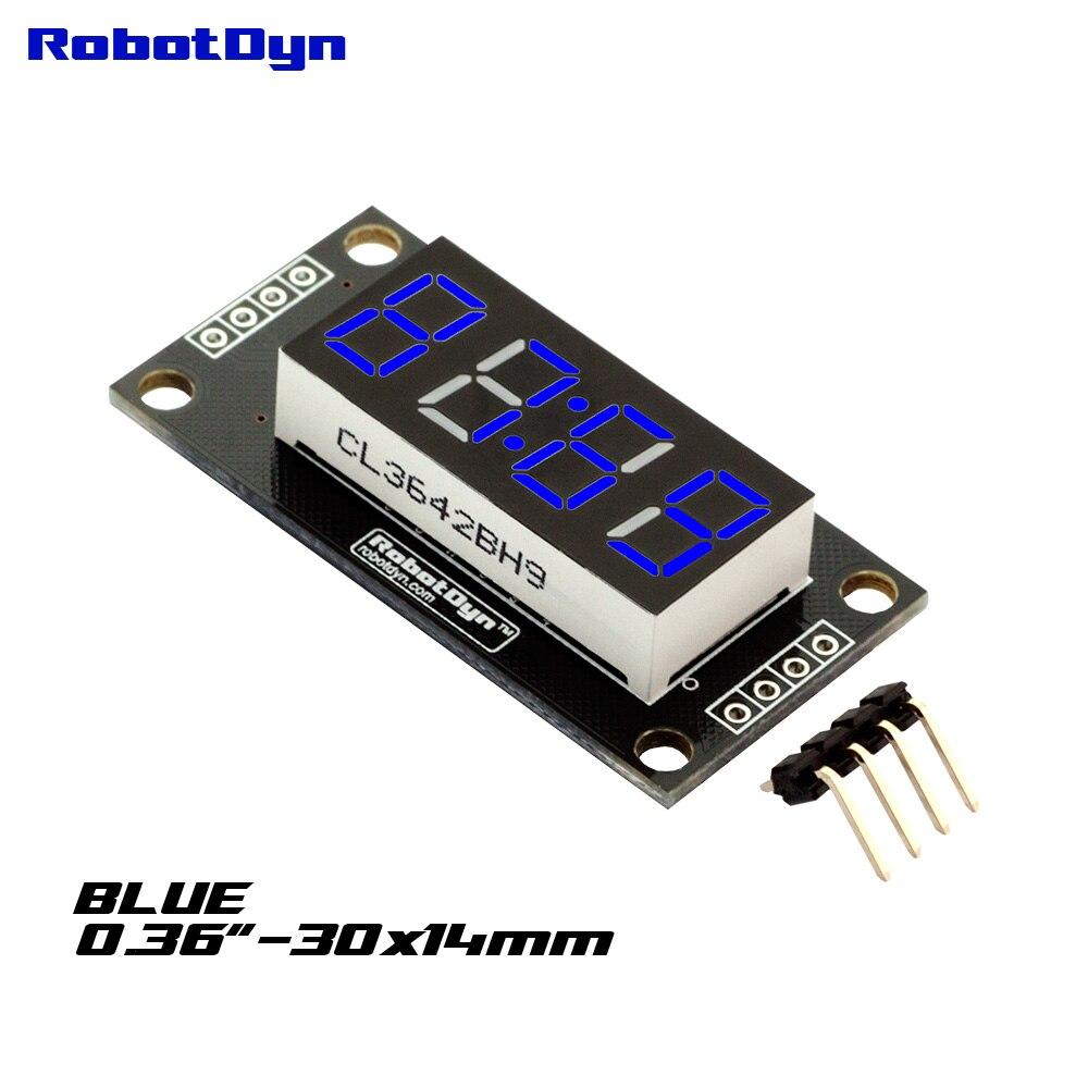 4-разрядный светодиодный 0.36 Дисплей трубки (часы, doubledot), 7-сегменты синий, tm1637, disp. Размер 30x14 мм