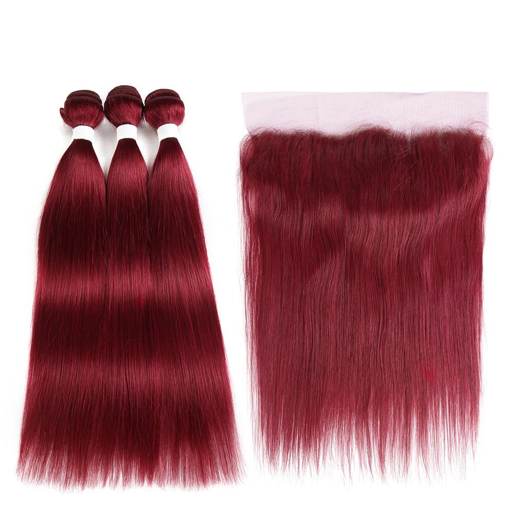 99J/Burgundy Red Color Bundles With Frontal 13*4 SOKU Brazilian Straight Human Hair Weave Bundles 3/4PCS Non-Remy Hair Extension
