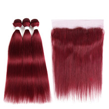 99J/Burgundy Red Color Bundles With Frontal 13*4 SOKU Brazilian Straight Human Hair Weave Bundles 3/4PCS Non-Remy Hair Extension(China)
