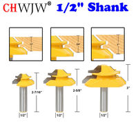 3 PC 1/2 Shank 45 Degree Lock Miter Bit Glue Joint Set Woodworking cutter Tenon Cutter for Woodworking Tools