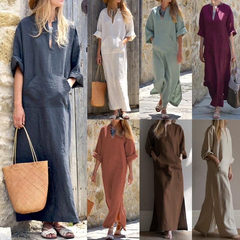 Women Vintage Maxi Long Dress 19 Celmia Summer Autumn Sexy V Neck Long Sleeve Split Casual Loose Linen Vestidos Kaftan S-5XL 4
