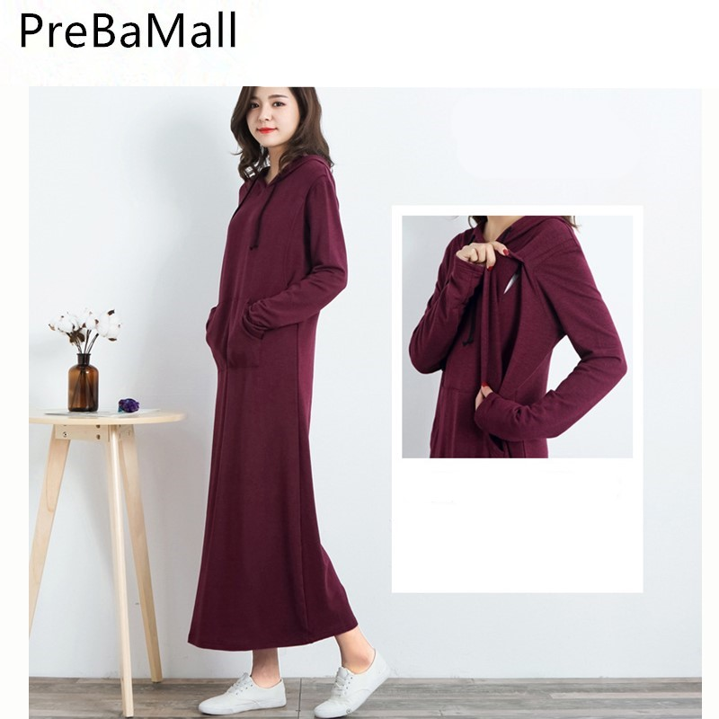 Breastfeeding Maternity Dresses Fashion Long Sleeve Dress Clothes For Pregnant Women Pregnancy Long Dress Clothing B0486