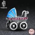 2017 Nueva Colección Primavera 925 Cochecito de Bebé Azul Encantos fit Pandora Pulseras Collares DIY Accesorios C010