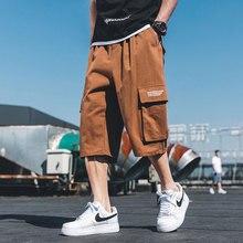 Safari Style Calf-Length Pants Printing Multi-Pockets Mens Elastic Waist Straight Large Sizes