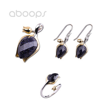 925 Sterling Silver Tulip Pendant Earrings Ring Jewelry Set for Women Girls Free Shipping
