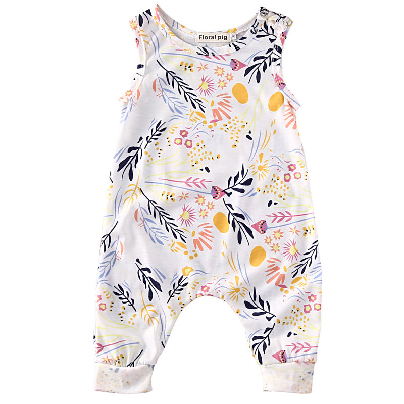 Cute Infant Baby Toddler Kids Boy Girl Romper Playsuit One Pieces Outfit Clothes Sleeveless Floral Bebes Rompers