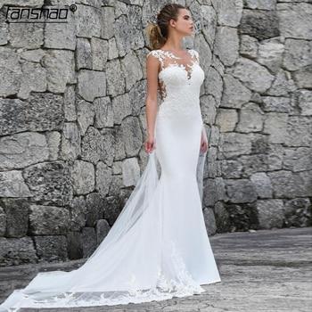 Muslim Wedding Dresses Mermaid Tank Lace Illusion abito da sposa Dubai Arabic Boho Wedding Dress Bridal Dress