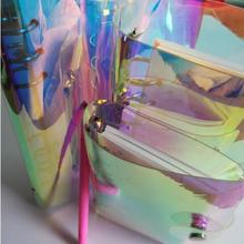 A5 Pvc Rainbow Laser Binder Transparent Notebook Diary Cover Glitter Loose Leaf Note Book Planner Clip Office Supplies
