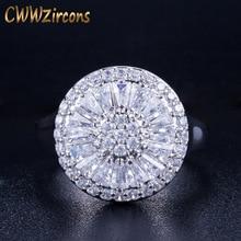 CWWZircons High Quality Wedding Band Round Shape Channel Setting Shiny Cubic Zirconia Luxury Big Rings For Women R032