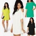 2016 Женщины Лето Рубашка Мода Женщин Сексуальный С Плеча мини Пляж Платье Случайно Шифона Платье Белого Плюс Размер футболки платье