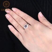 GEMS balet prawdziwe 925 srebro klasyczne obrączki 1.05Ct okrągły naturalny czerwony granat kamień pierścień dla kobiet biżuterii