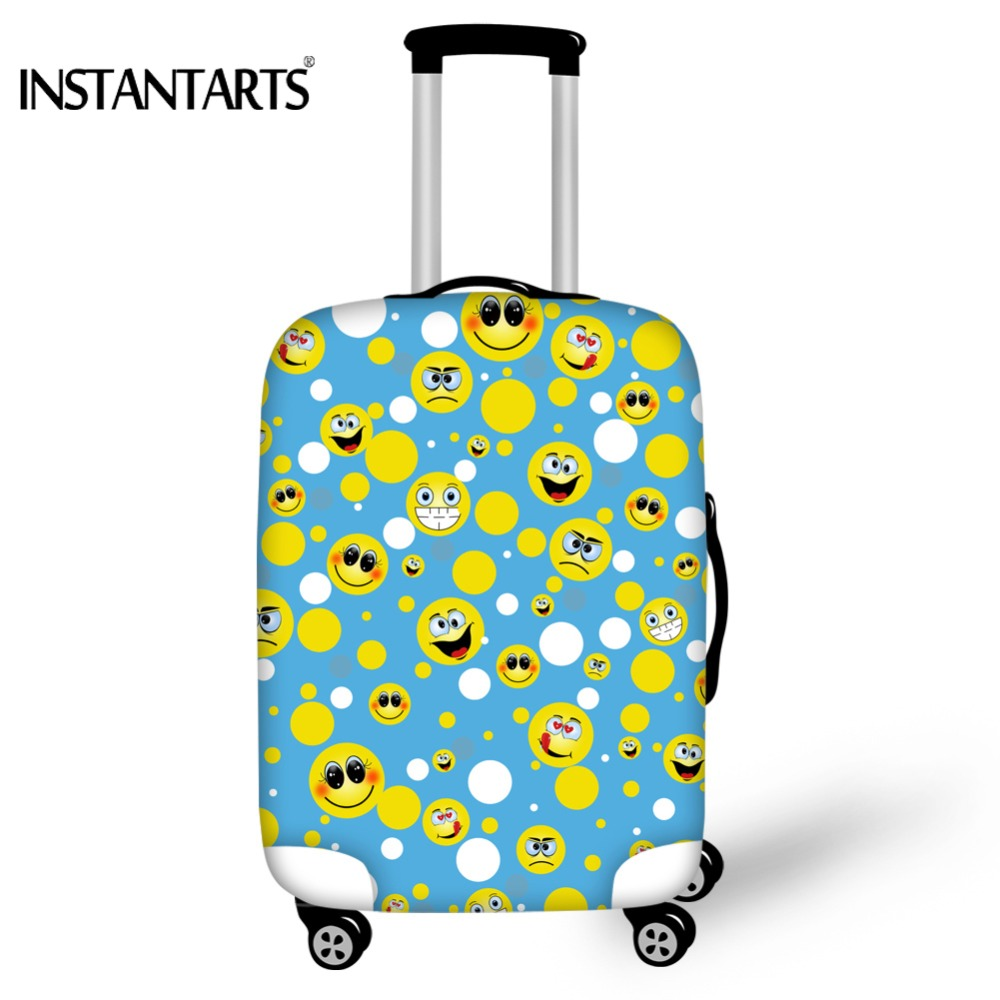 INSTANTARTS Funny Emoji Luggage Dustproof Cover For 18-30 Inch Suitcase Smiley Face Printing Thick Protective Travel Accessories