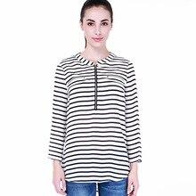 Hot sell Women Long Sleeve Print Stripe Blouses Women False Pocket Zipper Casual Spring&Autumn Shirts
