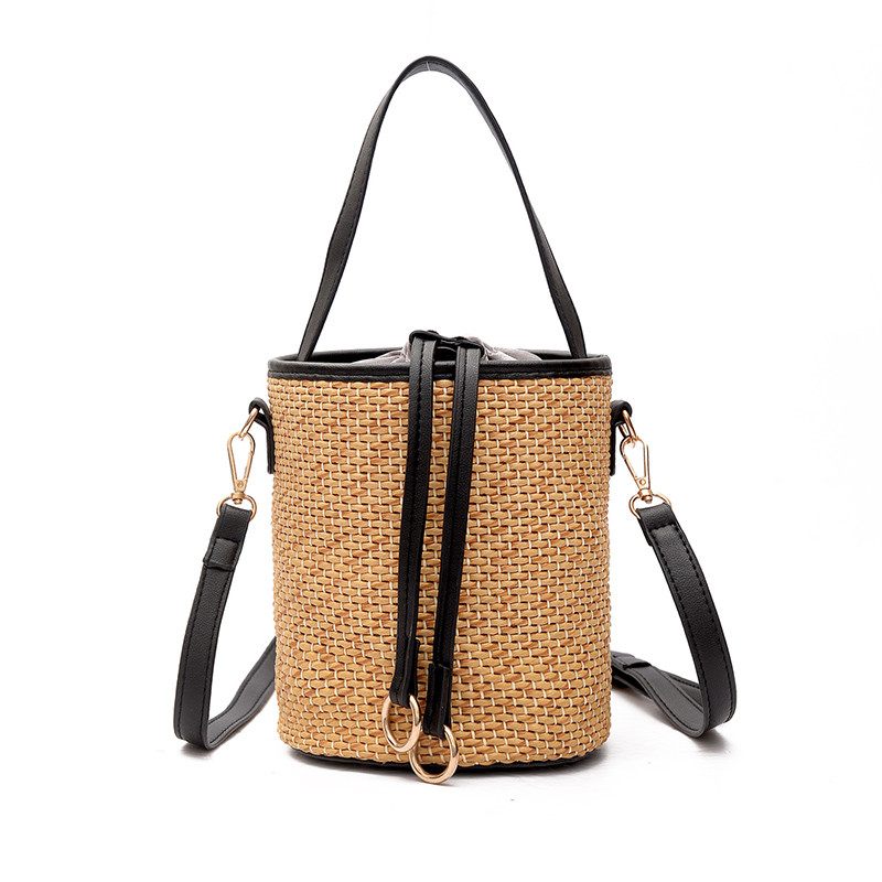 2017 New Woven Straw Handbags For Women Crossbody Bucket Bags For Beach Summer Shouder Crochet Straw Bag Bolso De Paja Bandolera handmade flower appliques straw woven bulk bags trendy summer styles beach travel tote bags women beatiful handbags