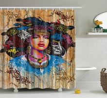 Afro Girl Indian Lady Shower Curtains Mildew Resistant Waterproof Polyester Fabric Bathroom Shower Curtain with Hooks(China)