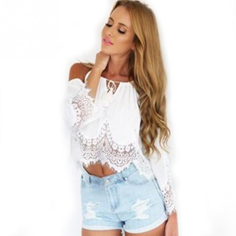 Lace   Blouse     Shirt   Women Summer Chiffon   Blouses   2019 New Off Shoulder Long Sleeveless Solid Hollow Out White Black Top