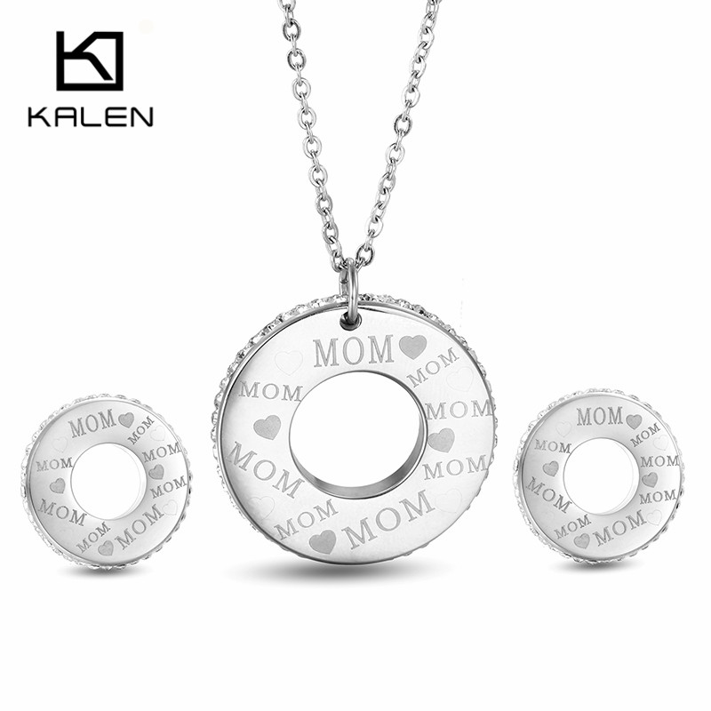 Kalen Wholesale Stainless Steel Jewelry Sets Fashion Love Mom Rhinestone Necklace & Stud Earrings Set For Mothers Day Gift 2017