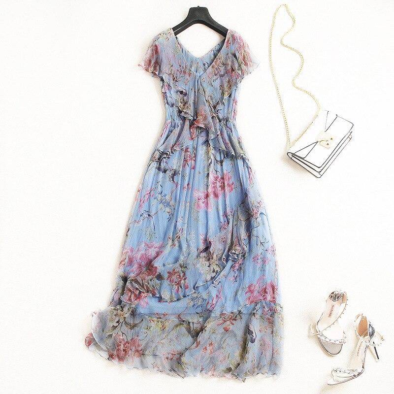 Silk print v neck elastic waist ruffles beach party a line long dress 2018 new high quality office lady women summer dress
