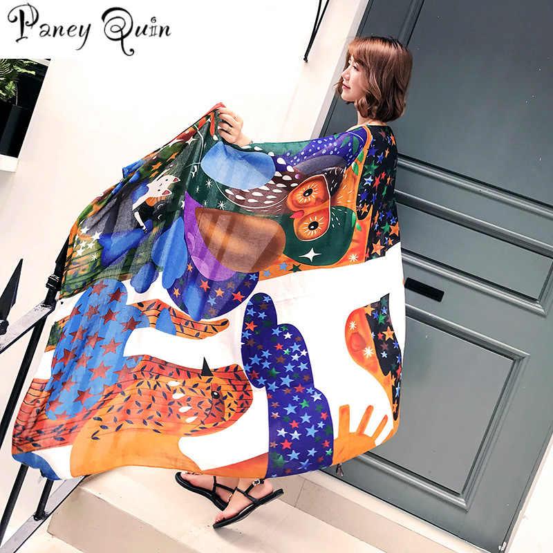 0e4685348236e summer beach travel scarf women shawl Cartoon owl fashion star sunshade  Tassels large size long Shawls